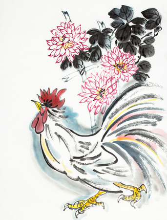 Photo pour Chinese style rooster and chrysanthemum - image libre de droit