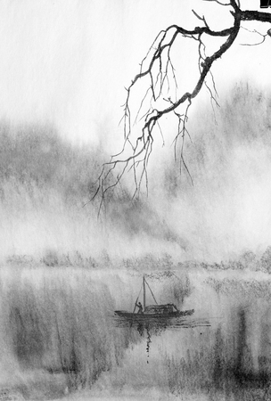 Photo pour tree branch on a background of misty mountains and a lake - image libre de droit