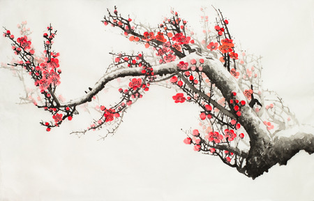 Foto de plum blossoms on a light background - Imagen libre de derechos