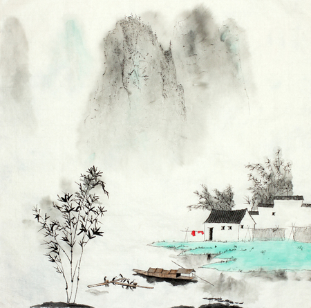 Photo pour mountain landscape with a fishing house by the lake and a boat drawn in Chinese style - image libre de droit