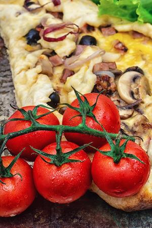 Foto de baked in the oven meat shawarma with vegetables in rustic style. - Imagen libre de derechos