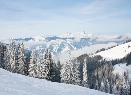 Mountains under snow  Ski resort Zell am See  Austria
