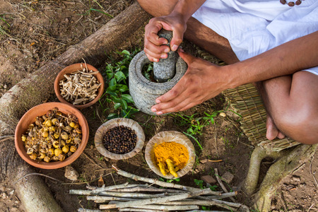 Photo for A young man preparing ayurvedic medicine in the traditional manner. - Royalty Free Image
