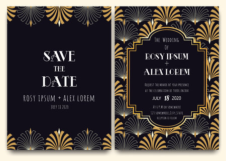 Illustration for An Art Deco Wedding Card with a Gold-patterned Background. - Royalty Free Image