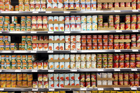 Canned food products in a supermarket