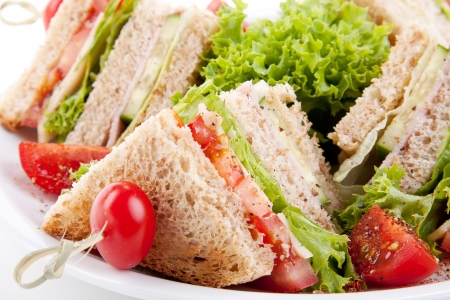 Photo for fresh tasty club sandwich with lettuce cheese ham and toast isolated on white background - Royalty Free Image