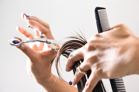 Photo pour Hands of a hair stylist trimming hair with a comb and scissors - image libre de droit
