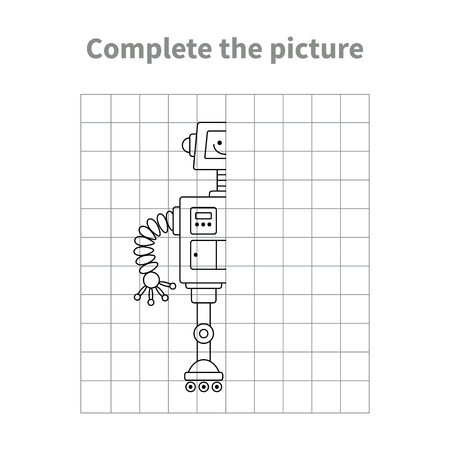 Illustration pour Complete the picture of robot.Coloring page.Children educational game. - image libre de droit