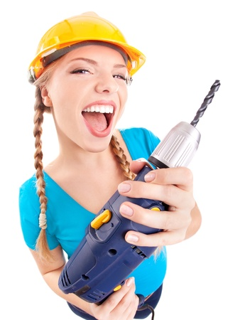 Photo pour Energetic woman with drill - image libre de droit