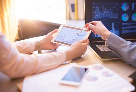 Foto de Business People Meeting Planning Analysis Statistics Brainstorming.Finance statistics strategy success concept - Imagen libre de derechos