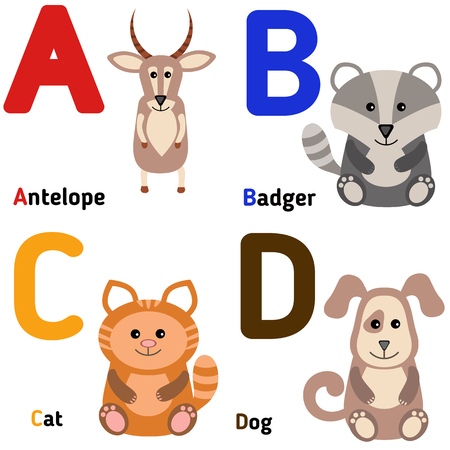 Cute zoo alphabet in vector. A, b, c, d. Funny cartoon animals: antelope, badger, cat, dog.