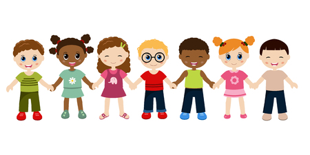 Illustration for Group of happy children holding hands. Isolated on white background. - Royalty Free Image
