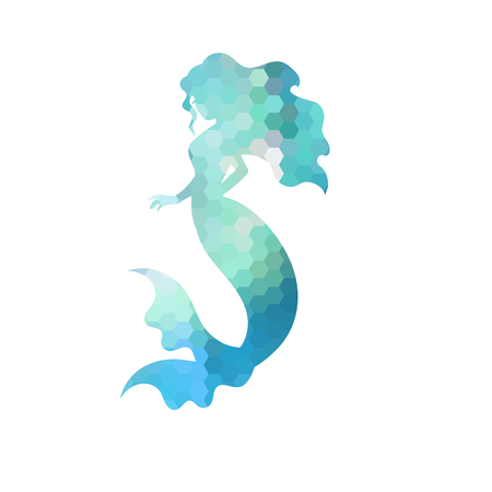 Illustration pour Silhouette of mermaid. White background. Vector illustration. - image libre de droit