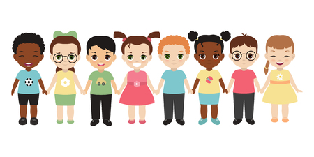 Illustration pour Group of happy children holding hands. Isolated on white background. - image libre de droit