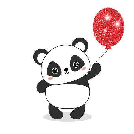 Illustration pour Panda bear illustration. Panda holds a balloon. Valentine's Day. - image libre de droit