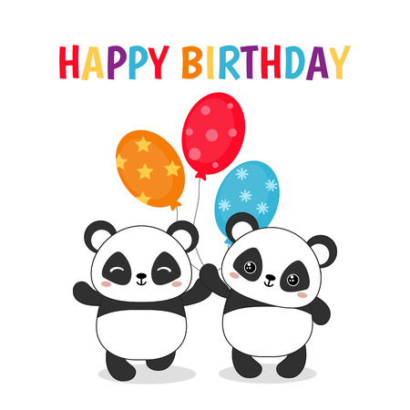 Illustration pour Greeting card for Birthday with cute pandas illustration. - image libre de droit