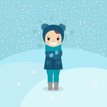 Ilustración de Freezing and shivering young girl on winter cold. Cartoon style illustration. Winter landscape. - Imagen libre de derechos