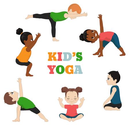 Ilustración de Kids Yoga set. Healthy lifestyle. Cartoon style illustration isolated on white background. - Imagen libre de derechos