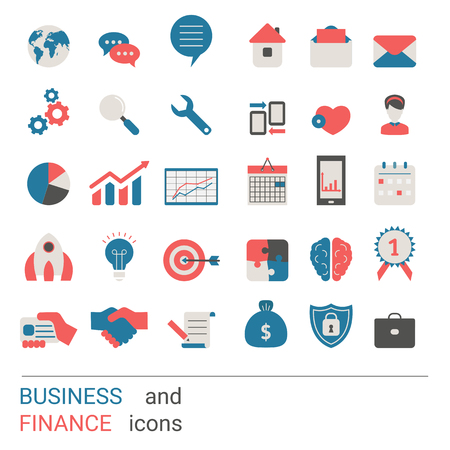 Illustration pour Collection business icons. Business elements to use in web, smart phone application ets. Trendy flat design. - image libre de droit