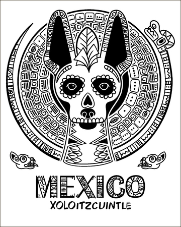 Illustration for Vector image of a dog in ethnic style. Mexican dog and Mexican skull - Royalty Free Image