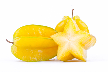 Photo pour yellow star fruit carambola or star apple ( starfruit ) on white background healthy star fruit food isolated - image libre de droit