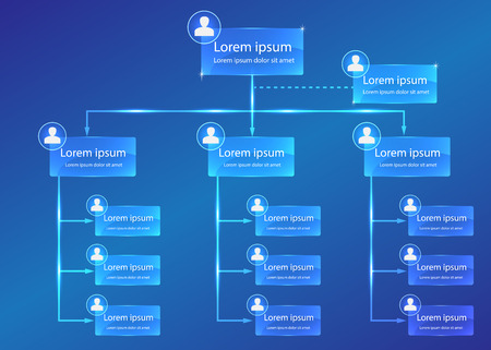 Illustration for Organizational chart infographic, Business Structure Concept, Business Flowchart Work Process, Blue Abstract Design. - Royalty Free Image