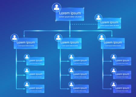 Illustration pour Organizational chart infographic, Business Structure Concept, Business Flowchart Work Process, Blue Abstract Design. - image libre de droit