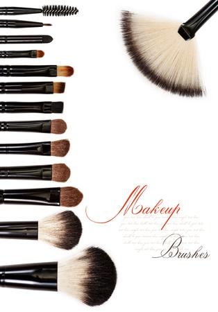 makeup brush set isolated on white background