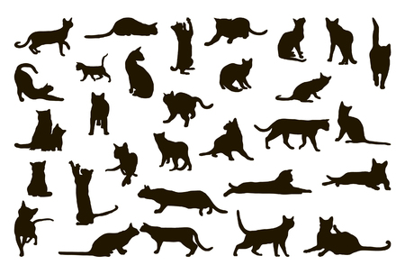 Big collection of cat silhouettes