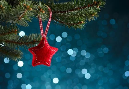 Photo pour Christmas decoration on blue background - image libre de droit