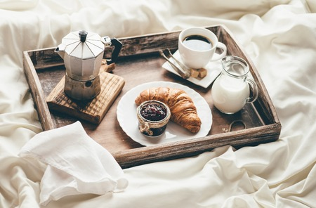 Photo for Breakfast in bed. Window light - Royalty Free Image