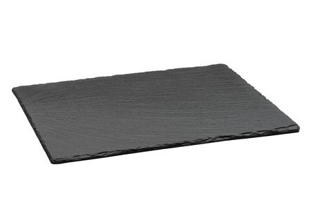 Foto per Empty black slate plate isolated on white background - Immagine Royalty Free