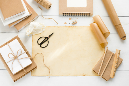 Photo for Covering books with brown kraft paper - Royalty Free Image