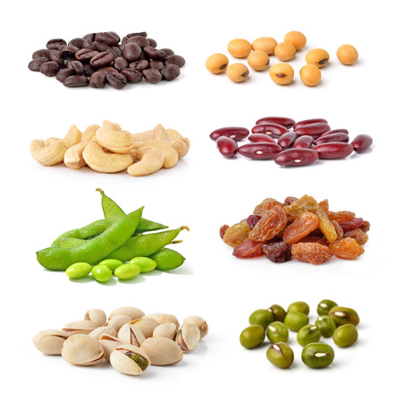 Photo for Cashew Nuts, green beans, soy beans, coffee beans,Pistachios,kidney beans,raisin isolated on white background - Royalty Free Image