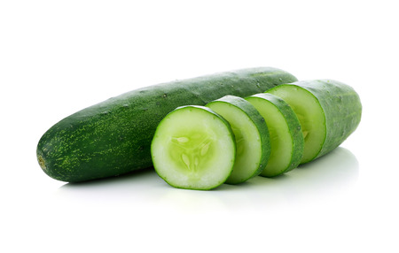 Photo for Cucumber and slices isolated over white background. - Royalty Free Image