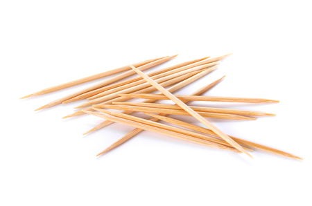 Photo for Wooden toothpicks on white background - Royalty Free Image