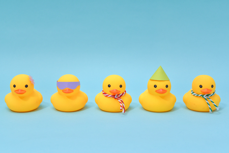 Photo for Diversity concept, Difference rubber ducks manage to line up - Royalty Free Image