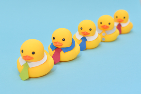 Photo for Office life concept, rubber ducks are waring neckties - Royalty Free Image
