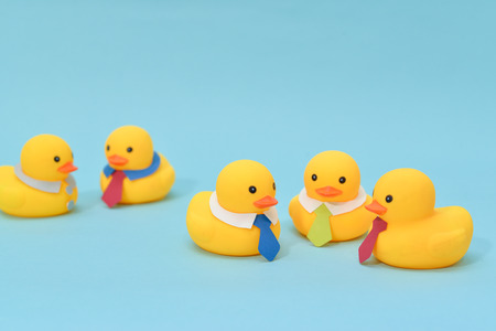 Photo for Office meeting concept, rubber ducks are discussing. - Royalty Free Image