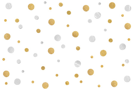 Foto de Gold and silver glitter confetti paper cut on white background - isolated - Imagen libre de derechos