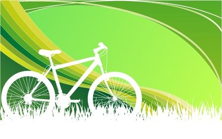 Illustration pour white Bike graphic with green blackground - image libre de droit