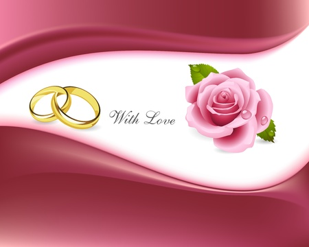 Illustration for rings and roses with love background - Royalty Free Image