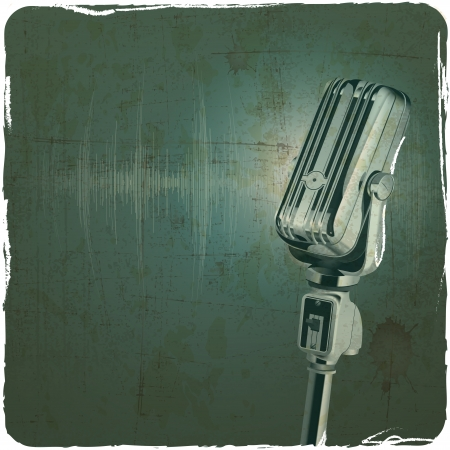Photo for Microphone retro vintage grunge background - Royalty Free Image