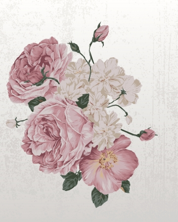 Photo for Illustration of Vintage old roses grunge paper background with roses - Royalty Free Image