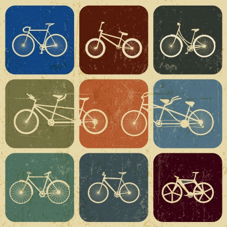 banner Vintage bicycles with grunge effect