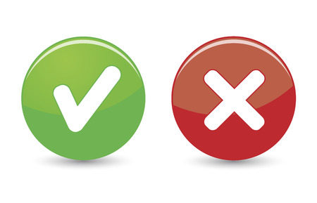 Illustration pour Approved and rejected web icons on green and red buttons on white background  - image libre de droit