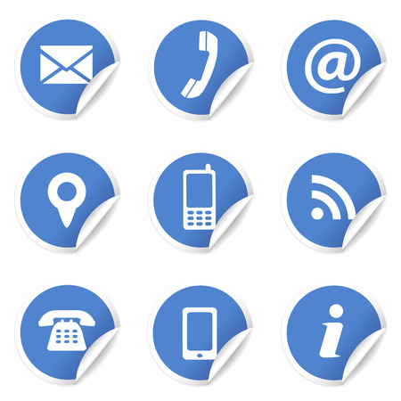 Illustration pour Web and Internet contact us icons set and design symbols on blue circular labels with curl  EPS10 vector illustration isolated on white background  - image libre de droit