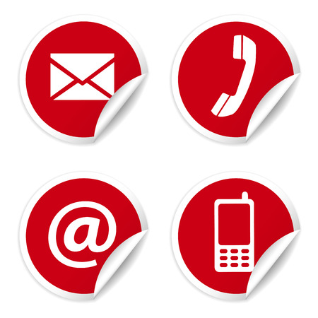 Illustration pour Web and Internet contact us icons set and design symbols on red circular stickers with curl  - image libre de droit