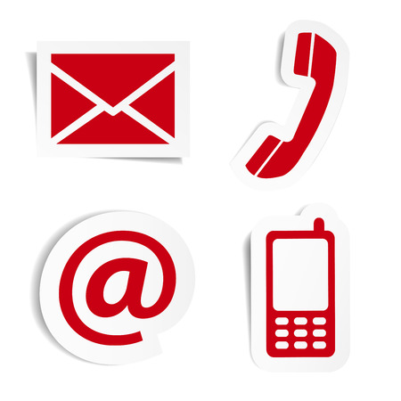 Illustration pour Website and Internet contact us red icons set and design symbols on stickers with shadow vector illustration isolated on white background  - image libre de droit
