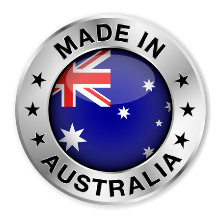 Illustration for Made in Australia silver badge and icon with central glossy Australian flag symbol and stars  Vector EPS10 illustration isolated on white background  - Royalty Free Image